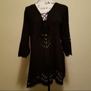 Solitaire Swim coverup dress. Cutout pattern.